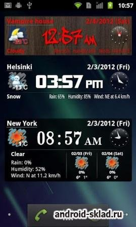 World Weather Clock Widget - виджет погоды для Android