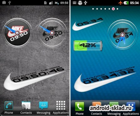 Nike Clock and Battery Widgets - набор брендовых виджетов для Android