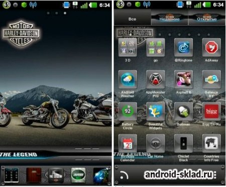 The Legend - тема с мотоциклами Harley Davidson для Go Launcher EX