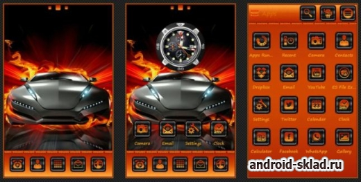 TMC Week Fire Car - тема с автомобилем в огне для GO Launcher EX